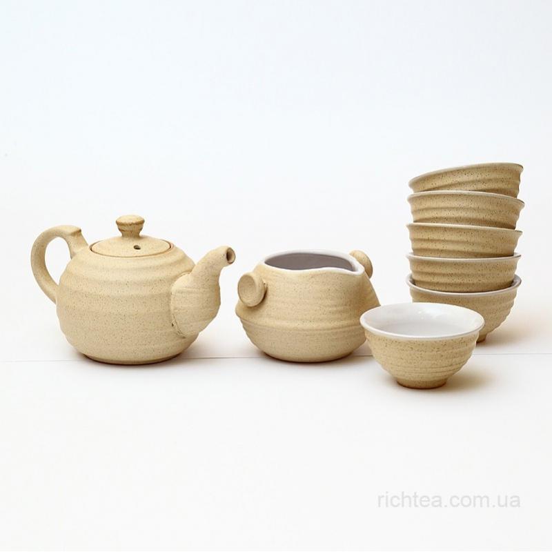 Сервиз из желтой глины для чайной церемонии